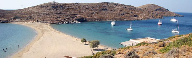 Kolona beach Kythnos Greece access map sandy accommodation