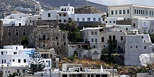 Portara. The Castle of Chora in Naxos island